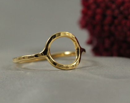 טבעת זהב עיגול מרוקע 21k| טבעת זהב 21k | טבעת זהב 21k מיוחדת | טבעת מעוצבת | תכשיטים בעבודת יד | מצופה זהב 21k | מתנה לחברה