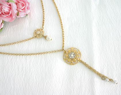שרשרת זהב לכלה, תכשיטים מיוחדים לכלה, שרשרת כפולה זהב, מתנה לחתונה
