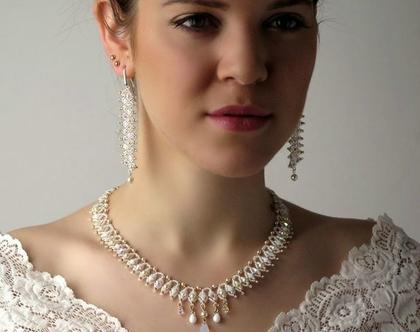 שרשרת מיוחדת לכלה, שרשרת קריסטלים סברובסקי, שרשרת טיפות, שרשרת לבנה, שרשרת מרהיבה, שרשרת לחתונה