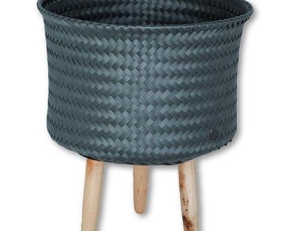 סל עם רגלי עץ-אפור up mid