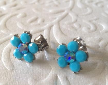 עגילי טורקיז- עגילים צמודים - עגילי פרח לאישה-עגילים צמודים לאישה-עגילים כחולים