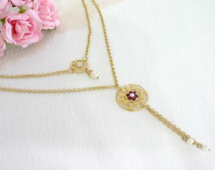 שרשרת סגולה, שרשרת זהב כפולה, שרשרת מתנה לאישה