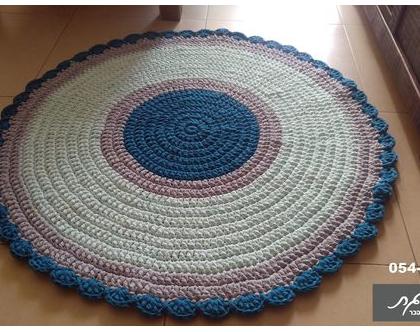 שטיח קוטר 1.20 מ'/שטיח סרוג/שטיחים סרוגים/שטיח לחדר ילדים/שטיחים לחדרי ילדים/שטיח עגול/שטיח סרוג מחוטי טריקו