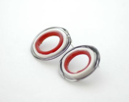 עגילי זכוכית - שחור אדום לבן