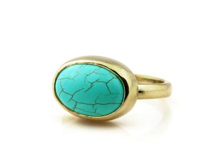טבעת טורקיז מזהב - טבעת אבן - טבעת אליפסה - טבעת מעוצבת - טבעת בעבודת יד