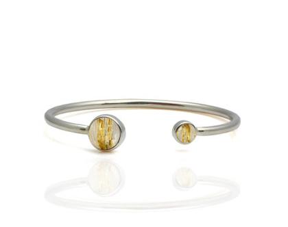 צמיד כסף 925 - צמיד פתוח - צמיד מתנה - צמיד רוטיל זהב - צמיד אבן חן - צמיד בשיבוץ אבנים - צמיד לאשה