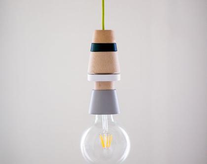 גוף תאורה מעוצב לסלון, לפינת אוכל, מטבח . עשוי בעבודת יד מעץ מלא .