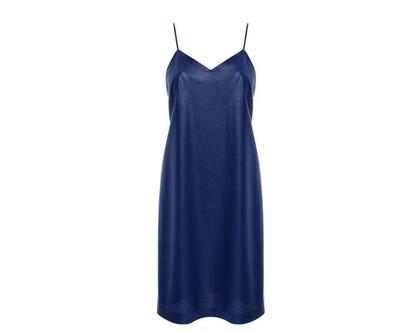 שמלת קומבינזון דמוי עור, כחול רויאל