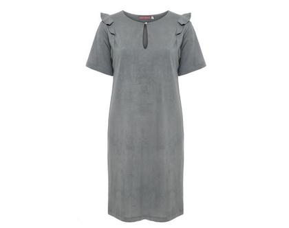 שמלת טריקו אפורה, שמלת גלים אפור, שמלת כותנה.
