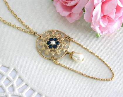 שרשרת זהב תליון תחרה, שרשרת לשמלה כחולה, שרשרת עם נוכחות