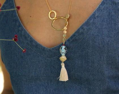 שרשרת חגיגה- ארוכה, משלבת מברשת , חרוזי זכוכית טבעת ושני סוגי שרשרת