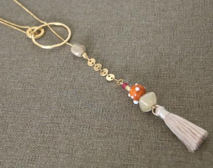שרשרת ארוכה משולבת גדיל וחרוז זכוכית כתום- N-1