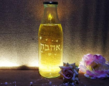 בקבוק זכוכית, אהבה, חריטה אומנותית בעבודת יד