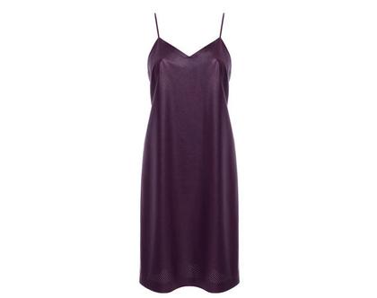 שמלת קומבינזון דמוי עור, סגול שזיף