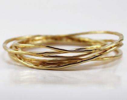 סט צמידי Stacking צמיד קשיח רקוע צמיד זהב רקוע צמיד רקוע בעבודת יד