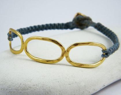 צמידי חוטים עם לולאות זהב רקועות צמיד אליפסות צמיד קשירות עם זהב