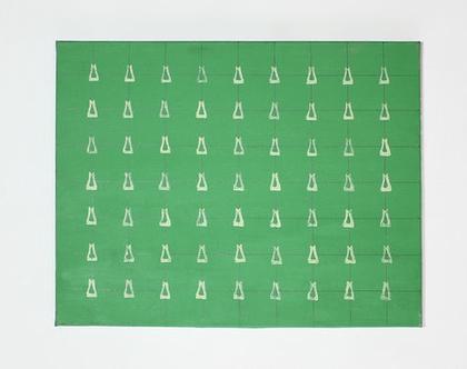 ציור ירוק מופשט, אקריליק על קנווס