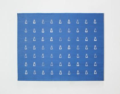 ציור כחול מופשט, אקריליק על קנווס