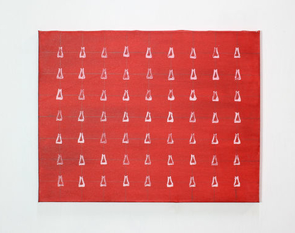 ציור אדום מופשט, אקריליק על קנווס
