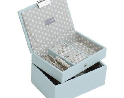 קופסת תכשיטים מודולרית 2 קומות - תכלת אפור