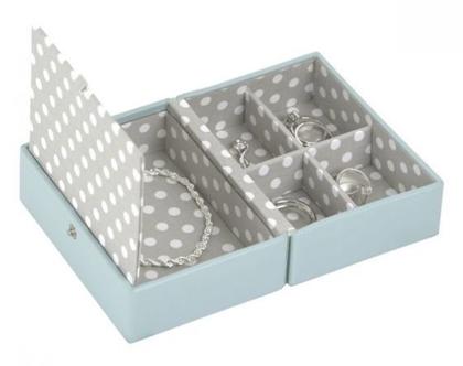 קופסא קומפקטית לתכשיטים - תכלת אפור