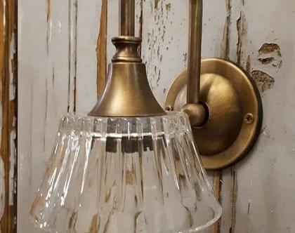 מנורת פליז זכוכית פסים