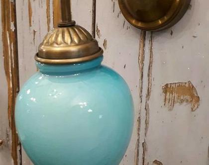 מנורת קיר זכוכית תכלת כדור