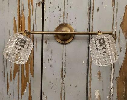 מנורה זוגית זכוכית ישרה מעויינים