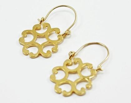 עגילי פרח זהב עגילי פרח זן עגילי ג'יפסי מעוצבים עגילי גולדפילד
