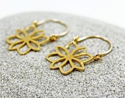 עגילי פרחים עגילי גולדפילד ג'יפסי עגילי פרח זהב