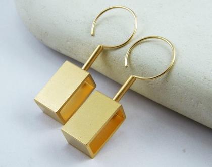 עגילי גולדפילד גיאומטרים עגילי מלבן תלויים עגילים מעוצבים עגילים מודרניים