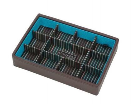 מגש מחולק 11 תאים תוספת לקופסא מודולרית 2 קומות לשעונים ולחפתים - חום תורכיז מפוספס