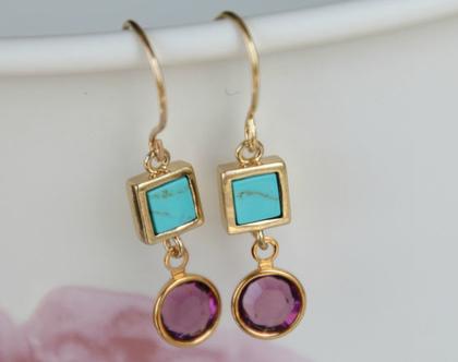 עגילי זהב משובצים אבן טורקיז ותליון קריסטל בצבע סגול חציל - E-6