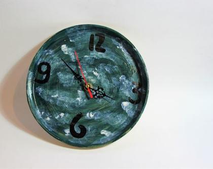 שעון קיר עננים מקרמיקה עם מנגנון, שעון קיר דקורטיבי, שעון מקרמיקה, שעון מחוגים, שעון קיר מחוגים, שעון מקרמיקה, שעון קיר ייחודי, למתנה