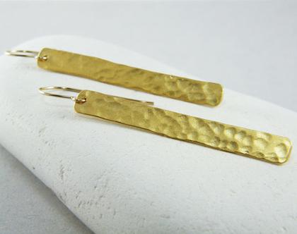 עגילים ארוכים עגילי מלבן גולדפילד עגילי זהב רקועים עגילים תלויים
