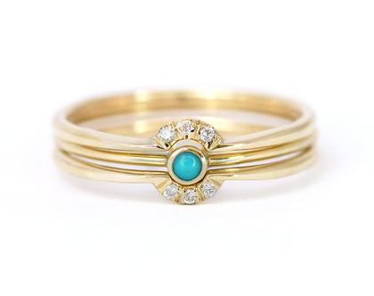 סט אירוסין שלוש טבעות, טבעת אירוסין עדינה, טבעת אירוסין טורקיז יהלום, טבעת כתר יהלום, טבעת נישואין בוהו