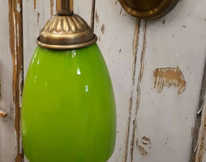 מנורת זרוע זכוכית ירוק תפוח