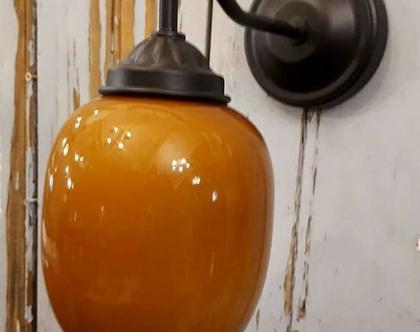 מנורת קיר זכוכית חרדל