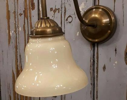 מנורת זרוע זכוכית פעמון שמנת