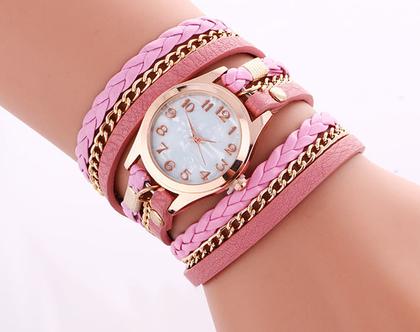 שעון מתלפף רצועות דקות שעון צמיד נכרך צבע ורוד