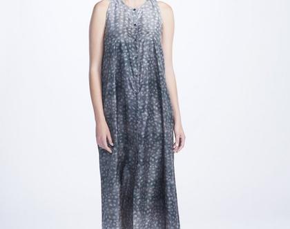 שמלת אינגריד מודפסת   שמלת מקסי   בד ניילון   שמלה אוורירית