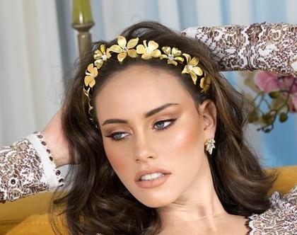 קשת פרחים לכלה, אביזר שיער לכלות, תכשיטים לכלה
