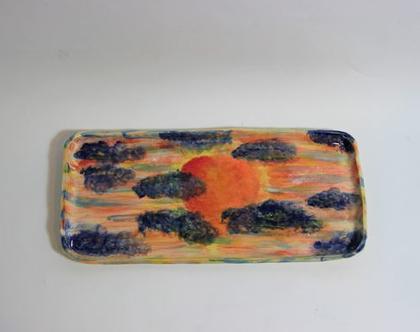 מגש אינגליש קייק ציור שקיעה מקרמיקה, מגש אינגליש קייק מקרמיקה, מגש מקרמיקה, כלי הגשה מקרמיקה, ציור שקיעה, עבודת יד מקרמיקה, מגש עבודת יד