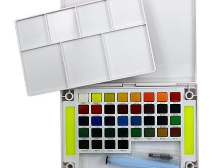 סט צבעי מים | 48 צבעים ומכחול מים | צבעים יפנים | יצירה