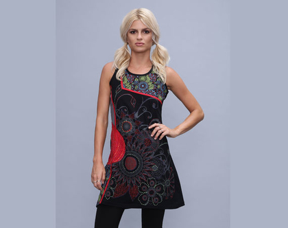 שמלה טוניקה קצרה שחור-אדום