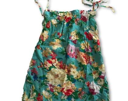 שמלת קשירה פרחונית לגונה