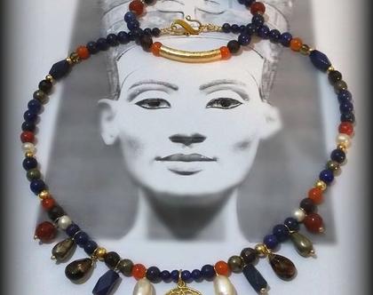 שרשרת אבני לפיס לזולי כחולות עם זהב ואבנים בסגנון עתיק   שרשרת אבני חן מיוחדת   אפרת שיפרין תכשיטים מאבני חן
