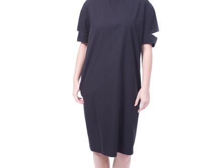 שמלת ליאה שחורה/ שמלה שחורה/ שמלת אריג
