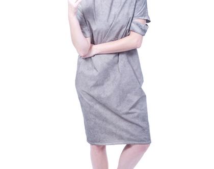 שמלת ליאה אפור ווש   שמלה אפורה