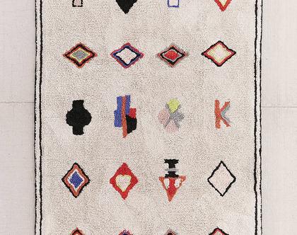 שטיח ברבר רך ובהיר, שטיח ברבר, שטיח כותנה בהיר, שאגי מרוקאי, שטיח לחדר ילדים